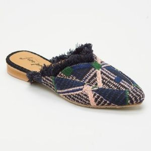 Free People Newport Mule Plaid 8 EUC Blue Boho